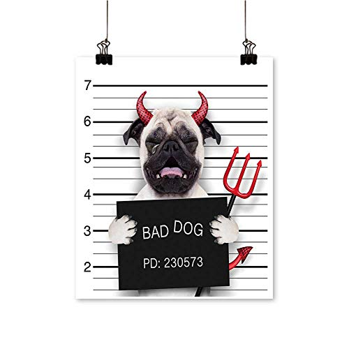 Art Picture Colorful Canvas Print Halloween Devil Pug Dog cry in a Mugshot Caught on Camera Paintings for Living Room,28