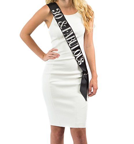 Dulcet Downtown Black Satin 30 & Fabulous Birthday Sash w/ Silver Glitter encased in Letters - 30th Birthday Party ()