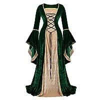 Haorugut Renaissance Costume Women Medieval Dresses Faire Costumes Velvet lace up Irish Dress Green M