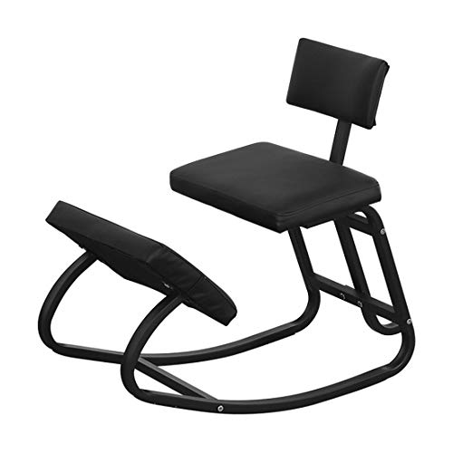 Kneeling Chairs Home Office Ergonomic Balance Kneel Stool Rocking with Back Support for Perfect Posture Kids Children with Backrest(Black Leather)