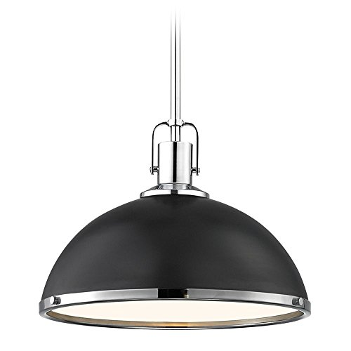 (Nautical Black Pendant Light Chrome Accents 13.38-inch Wide)