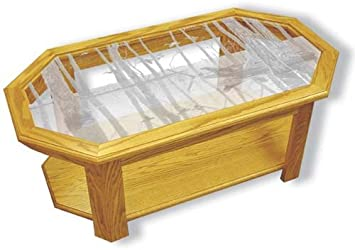 Amazon Com Oak Glass Top Coffee Table With Duck Hunting Etched