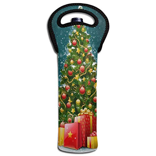 Wine Bag Large Christmas Tree 1 Bottle Red Wine Tote Bag Insulated Padded Single Champagne Carrier -