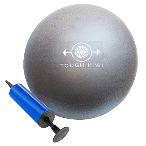 Tough Kiwi 9 Inch Pilates Ball with Pump - Mini Exercise Ball for Home Fitness | Use for Home Fitness, Stability, Barre, Pilates, Yoga, Core Training or Physical Therapy (Silver)