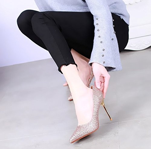 Sexy Mouth All Work Party Match Shallow Fine A Elegant Pink Leisure Spring Single Shoes 39 Shoes Sequins Heeled Pointed With High Lady 10Cm MDRW Shoes UnHaq6xw
