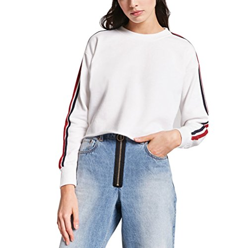 b443703ebc8 Germinate Huang Crop Sweatshirts Women White Cute Lightweight Vintage  Pullovers Sweaters (White