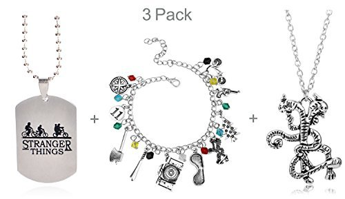3 Pack Stranger Things Themed Charms Bracelet + Pendant Necklaces Eleven Demogorgon