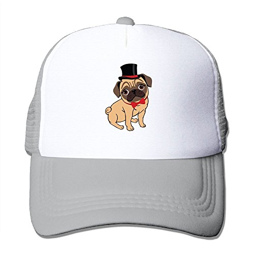 Gentleman Pug Unisex Grid Baseball Caps Snapback Adjustable Funny (Pug Costumes Online)
