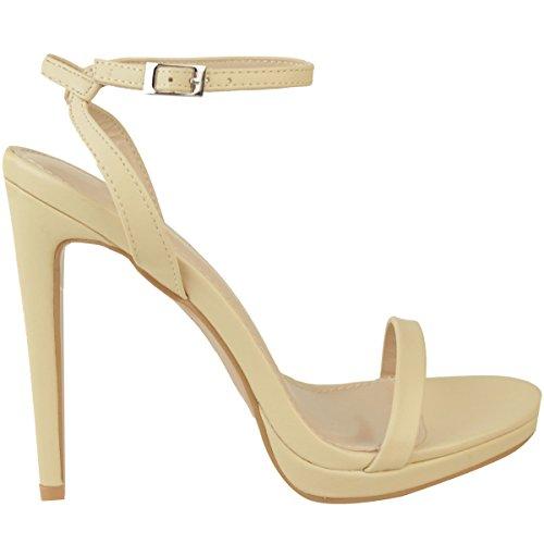 Lanières Thirsty Plateforme pour Sandales chair Fines Fashion couleur cuir Femme Faux à Talons Hauts vacances Aiguilles Soirée FRqxRYdUw