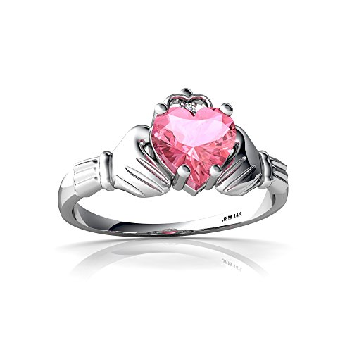 14kt White Gold Lab Pink Sapphire and Diamond 6mm Heart Claddagh Ring - Size (White Gold Sapphire Claddagh Ring)