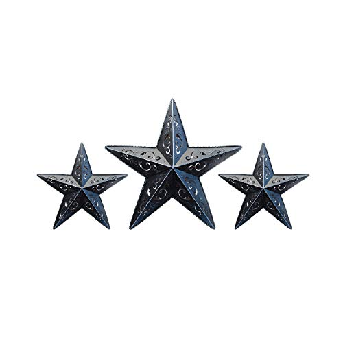 BLACK LACY METAL BARN STAR SET - 2X 12