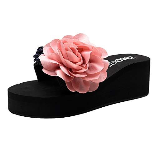 zitan Women Ladies Girls Flower Wedge High Heels Flip Flops Antiskid Slip on Sandals Summer Beach Slippers