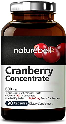Naturebell Cranberry Whole Fruit Concentrate, 600mg, 90 Capsules, Powerfully Supports Urinary Tract Cleanse, Kidney, Bladder Health, No GMOs and Made in USA