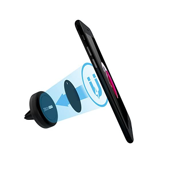 Car Mount TechMatte MagGrip Air Vent Magnetic Universal Car Mount Holder For Smartphones Including IPhone X 8 7 6 6S Galaxy S7 S7 Edge Black 2 Pack