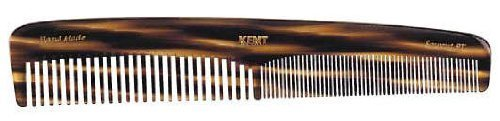 Kent 9T 7 1/2'' 192 mm Handmade Comb  Coarse and Fine Toothed Comb Sawcut,  Large  (2 PACK)