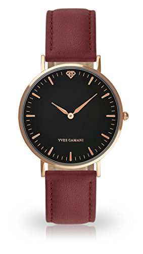 YVES CAMANI Amelie Women's Wrist Watch Quartz Analog Red Leather Strap Black Dial YC1097-C-754