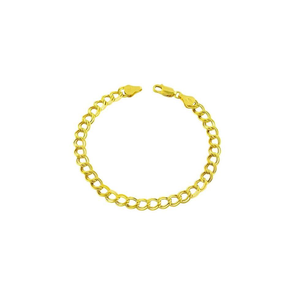 4mm Rolo Heart Charm Bracelet, 14K Yellow Gold