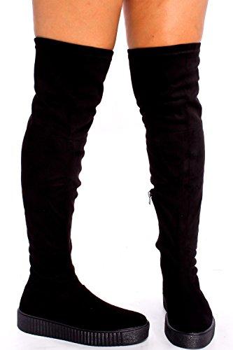 Dnd Fashion In Eco-pelle Scamosciata Con Cerniera Design Fibbia Casual Boot Nero-regan-45