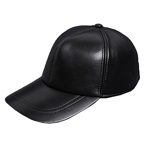 Taonology Baseball Cap Leather Biker Cap Outdoor Sports Hats Snapback Hats for Men and Women(Black)
