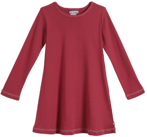 City Threads Baby Girls' Cotton Long Sleeve Dress for School or Play for Sensitive Skin SPD Sensory Friendly, Red, 12/18m -