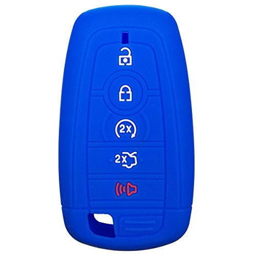 Coolbestda Silicone 5 Buttons Smart Key Fob Remote Cover Case Keyless Entry Full Protector Jacket Holder for 2017 Ford Fusion F250 F350 F450 F550 2018 Edge Explorer Blue