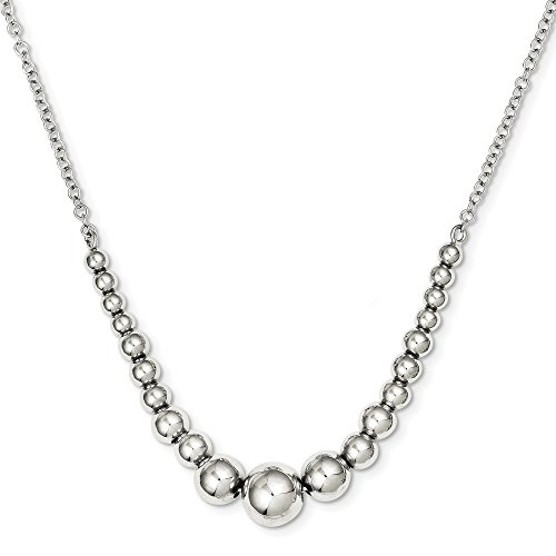 925 Sterling Silver Graduated Bead Chain Necklace Pendant Charm Station Fine Jewelry Gifts For Women For Her
