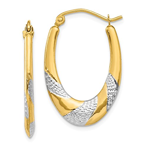 14k Yellow Gold Oval Hoop Earrings Ear Hoops Set Fine Jewelry For Women Gift ()