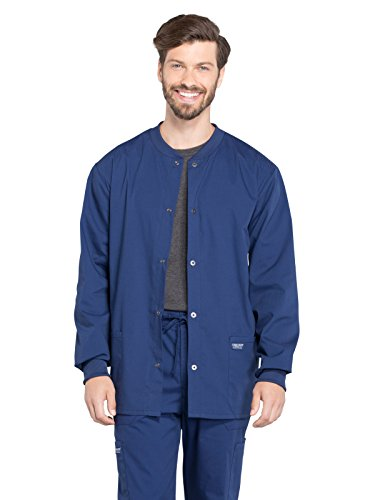 Cherokee Professionals Workwear Men's Snap Front Warm-Up Solid Scrub Jacket Medium Navy by Cherokee
