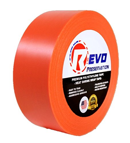 REVO Preservation Tape / Heat Shrink Wrap Tape (2' x 60 yards) MADE IN USA (ORANGE) Poly Tape - Electrical Tape - Asbestos Removal Tape (STRAIGHT EDGE) SINGLE ROLL (ECONOMY: 7.5 MIL THICKNESS)