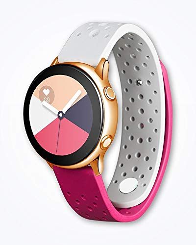 (Strap Studio Made for Samsung Galaxy Watch Active Compatible Handcrafted Easy Change Band (2019): Active Rubber Grey-Pink Triple-Pack)