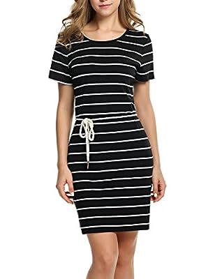 HOTOUCH Women's Casual Short Sleeves Striped Loose T-Shirt Mini Dress M-XXL