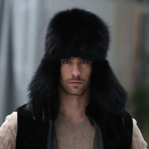 (DeemoShop Valpeak Winter Bomber Hat Real Natural Fox Fur Hat Russian Hat Ushanka Men Warm Leather Trapper Aviator Hat with Earflaps)