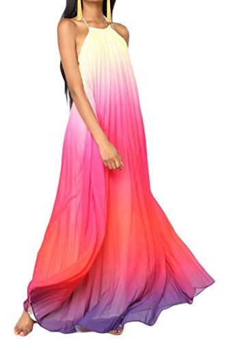 Ombre Chiffon Dress - Cromoncent Womens Ombre Color Print Sexy Backless Halter Beach Pleated Maxi Dress Red L