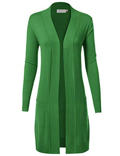 MAYSIX APPAREL Womens Long Sleeve Long Line Knit Sweater Open Front Cardigan W/Pocket APPLEGREEN L ()