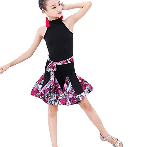 Girls Ballet Dress Kids Girls Sleeveless Spandex Latin Dance Dress with Belt Floral Print Ruffle Rumba Salsa Samba Ballroom Dancewear Performance Competition Dance Costume Gymnastic Dance Leotard ()