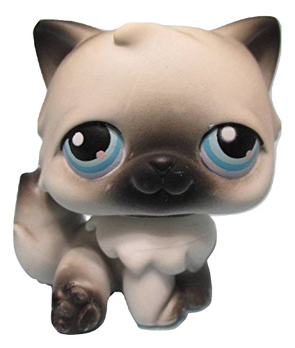 LPS Littlest Pet Shop Rare White Persian Cat with Black Ears, Nose, Toes and Tail Tip Blue Eyes Red Magnet #60 Replacement Part Loose/Packaged in Parts Bag