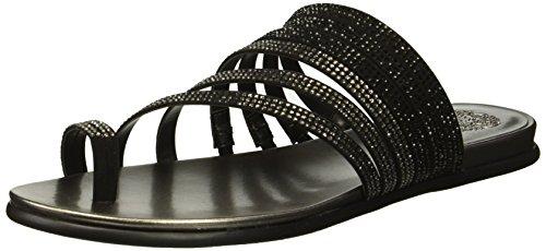 Vince Camuto Women's EDWINNY Flat Sandal, Black/Dark Pewter, 8 M US from Vince Camuto