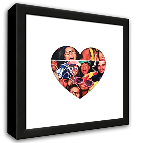 "Heartstagram Picture Frame - Black Wood Frame With Heart Shaped Mat Cut for a 4"" x 4"" Photo"