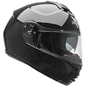 Vega Helmets VR1 Modular Motorcycle Helmet with Sunshield - DOT Certified Half to Full Face Flip Up Motorbike Helmet for Cruisers Scooter Touring Moped, Bluetooth Compat (Black, X-Large)