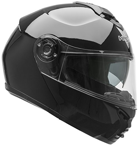 Vega Helmets VR1 Modular Motorcycle Helmet with Sunshield - DOT Certified Half to Full Face Flip Up Motorbike Helmet for Cruisers Scooter Touring Moped, Bluetooth Compat (Black, X-Large) (Women Motorcycle Modular Helmet)