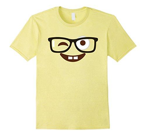 Mens Emoji Shirt Halloween Costume Nerd Glasses Emoji Buck Teeth Large Lemon (Tooth Related Halloween Costumes)