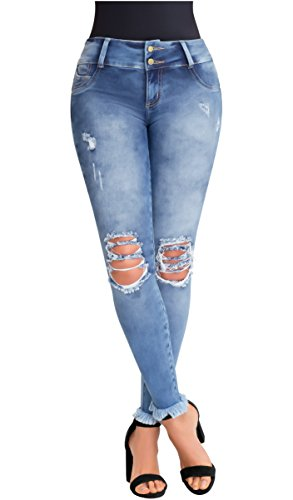 Lowla Women Fashion Butt Lifter Stretch Skinny Ripped Ankle High Rise Shaper Jeans Pantalones Colombianos Talle Alto Levanta Cola De Dama Blue 12 Buy Online In Aruba At Aruba Desertcart Com Productid 47576581