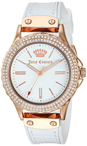 Juicy Couture Black Label Women's JC/1008RGWT Swarovski Crystal Accented Rose Gold-Tone and White Leather Strap Watch