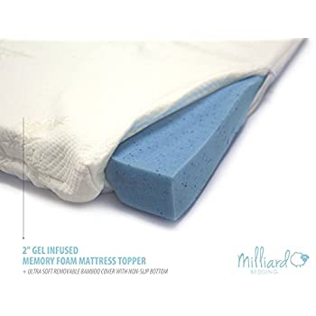 "MILLIARD 2"" Gel Infused Memory Foam Mattress Topper + Ultra Soft Removable Bamboo Cover with Non-Slip Bottom Queen 78""x58""x2"""