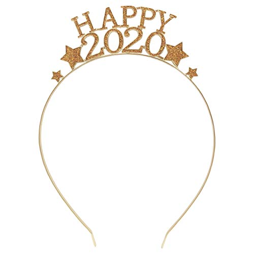 Festive New Years Eve Party Headband in Shining Golden Metal with Crown or Tiara Theme (HAPPY 2020)