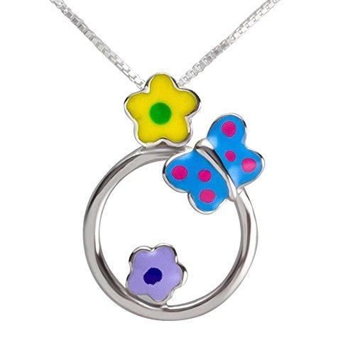 SL de Silver Set Cadena Niños colgante mariposa flores 925plata en caja de regalo