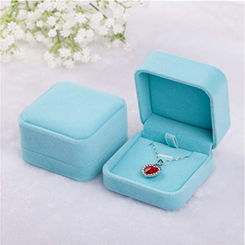Tianying 2 Pack Velvet Ring Boxes, Earring Pendant Jewelry Case, Ring Earrings Gift Boxes, Jewellry Display (Blue, Pendant Box)