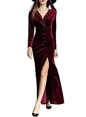 ASVOGUE Mujer Vestidos de Fiesta Elegante Terciopelo Apertura Alta, Borgoña L