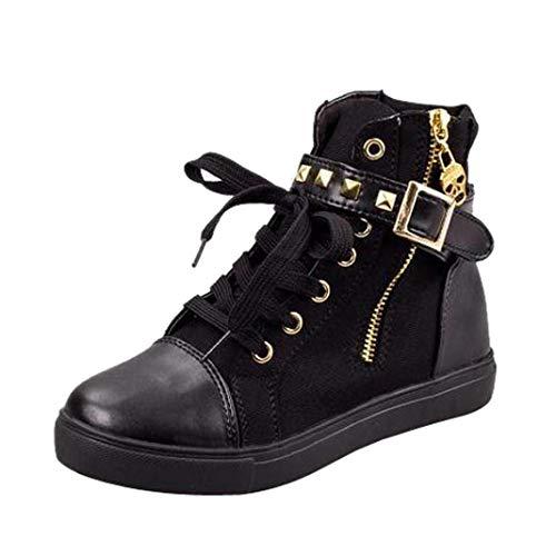 Boomboom Women Shoes, Women Soft High-Top Zip Sneakers Shoes Flat Canvas Shoes Black US 5.5