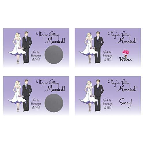 (Purple Bouquet Scratch-Off Card, Bachelorette Party/Bridal Shower Game (25 Pack))